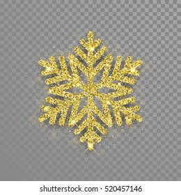 Snowflake with gold glitter texture. Christmas, New Year golden glittering ornament decoration on transparent background with shining sparkling light effect. Vector isolated icon.