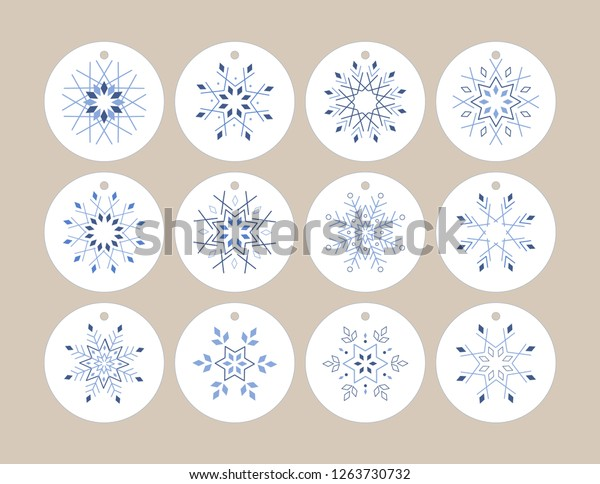 graphic relating to Printable Hang Tag referred to as Snowflake Cling Tag Printable 12 Special Inventory Vector (Royalty