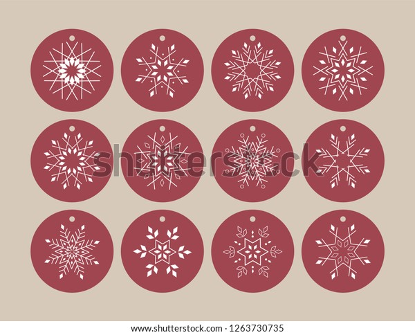 photograph about Printable Hang Tag referred to as Snowflake Hold Tag Printable 12 One of a kind Inventory Vector (Royalty