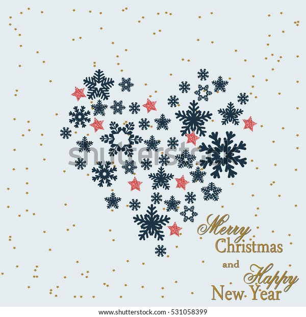 Snowflake. Heart from gold snowflakes for a card to the winter feast of Christmas and New Year. Vector illustration