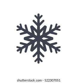 Snowflake icon. Black silhouette snow flake sign, isolated on white background. Flat design. Symbol of winter, frozen, Christmas, New Year holiday. Graphic element decoration. Vector illustration