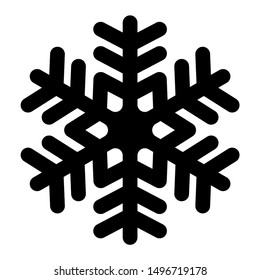 Snowflake icon. Christmas and winter theme. Simple flat black illustration with rounded corners on white background.