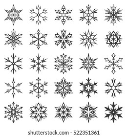 Snowflake icon collection isolated on white background. Winter symbols. Christmas decorative elements. New year card ornament. Snowflakes silhouette. Geometric snowflakes set. Vector illustration