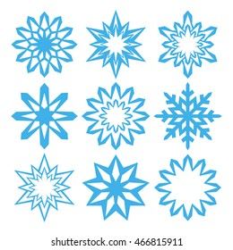 Snowflake. Icon set. Abstract snowflakes for Christmas and New Year