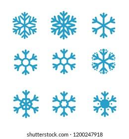 Snowflake icon set. Winter symbol. Vector