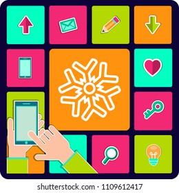 snowflake icon vector illustration eps10. Isolated badge for website or app