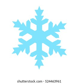 Snowflake Icon vector isolated on blue background.