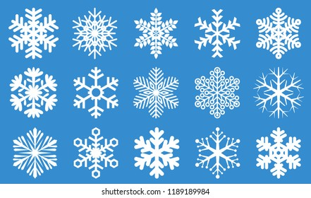 Snowflake icon vector set.