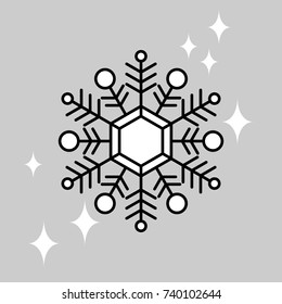 Snowflake icon. Vector snow flake isolated on light background. Shiny winter illustration.