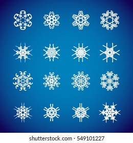 Snowflake icon. Winter theme. Winter snowflakes of different shapes.