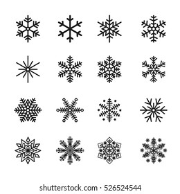 Snowflake Icons Black Vector Silhouette Illustration