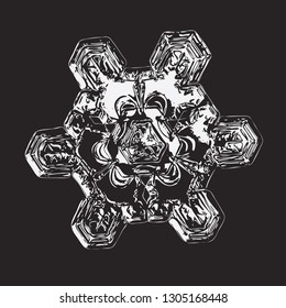Snowflake isolated on black background. Vector illustration based on macro photo of real snow crystal: unusual star plate with triangle-based structure, short arms, glossy surface and complex details.