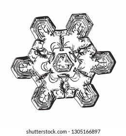Snowflake isolated on white background. Vector illustration based on macro photo of real snow crystal: unusual star plate with triangle-based structure, short arms, glossy surface and complex details.