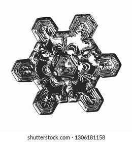 Snowflake isolated on white background. Vector illustration based on macro photo of real snow crystal: elegant star plate with fine hexagonal symmetry, short, broad arms and glossy, relief surface.