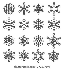 snowflake line icons set vector