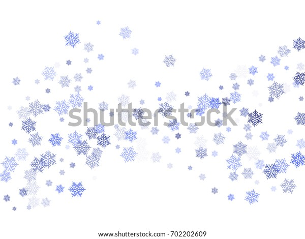 Snowflake macro vector illustration, blue and white snow flakes confetti chaotic scatter. Winter xmas snow background. Snow flakes falling and flying winter tale vector background.