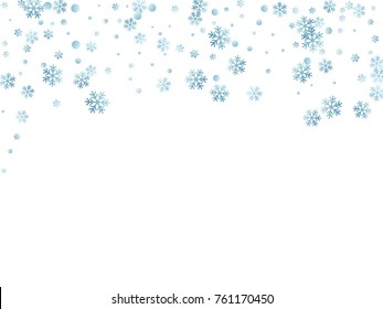 Snowflake macro vector illustration, snow flakes confetti chaotic scatter card in blue and white. Winter xmas snow background. Flakes falling and flying winter tale vector background.