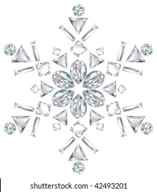 Snowflake made from different cut diamonds isolated on white