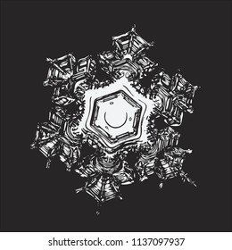 Snowflake on black background. This vector illustration based on macro photo of real snow crystal: beautiful star plate with fine hexagonal symmetry, six short, broad arms and glossy relief surface.
