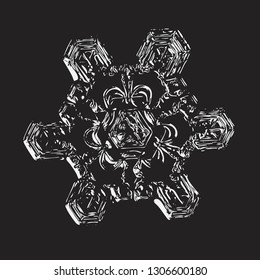 Snowflake on black background. Vector illustration based on macro photo of real snow crystal: beautiful star plate with unusual triangular structure, glossy relief surface and complex inner details.