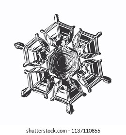 Snowflake on white background. This vector illustration based on macro photo of real snow crystal: beautiful star plate with perfect hexagonal symmetry, relief surface and unusual central pattern.