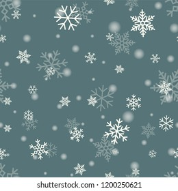 snowflake on winter gray sky background. Christmas vector pattern design for backdrop