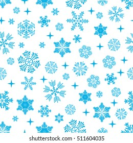 Snowflake pattern on white background. Vector illustration.