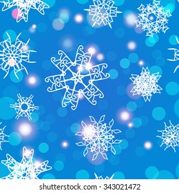 Snowflake Pattern. Seamless vector texture. Christmas and new year concept
