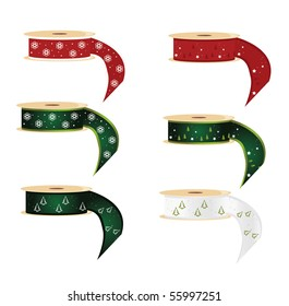 Snowflake and pine tree ribbon spools - vector
