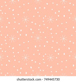 Snowflake pink and white winter seamless vector pattern. Holiday celebration gift paper or background.