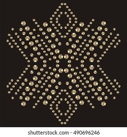 Snowflake rhinestone applique print for textile clothes fashion luxury design. Trendy vector crystal studs embellishment brilliants for apparel. Jewelry ornament embroidery t-shirt hotfix transfer.