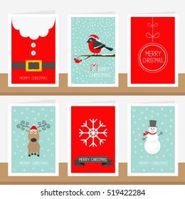 Snowflake, ribbon, Santa Claus costume belt, animal bullfinch, ball, snowman, deer. Merry Christmas text. Greeting card set Flat design Vector illustration.