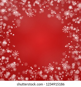 Snowflake round border vector isolated on red background. Christmas falling snow frame. Winter xmas magic snow flake, frame decoration. Vector illustration.