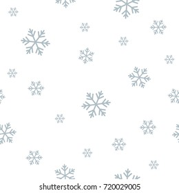 Snowflake seamless pattern. Geometric randomly background with snow. Monochrome abstract vector texture.
