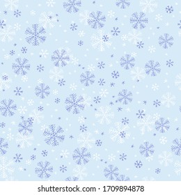 Snowflake seamless pattern on blue background. Hand drawn vector illustration.