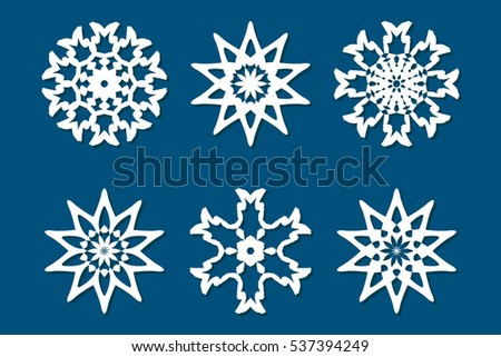 Snowflake Set Laser Cut Pattern Christmas Stock Vector Royalty Free Inspiration Snowflake Cutting Patterns