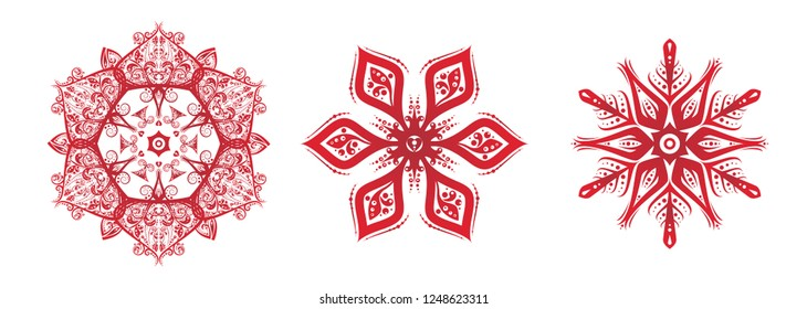 Snowflake set silhouette icon or emblem. Red on white background. Vector holiday illustration for greeting card, decoration, sign, banner, Christmas accessories. Vintage style