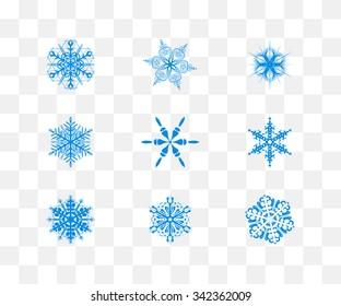 Snowflake set for winter design. Vector illustration