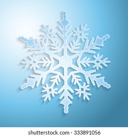 Snowflake with shadow on blue background, vector illustration