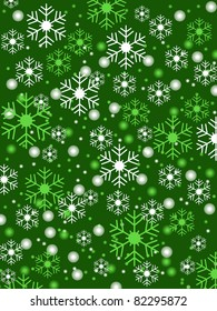 Snowflake shapes and snowballs in white and green on vibrant green background