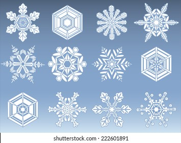 Snowflake Silhouette Icons - Set of 12 natural looking snowflakes. File is layered; each snowflake is grouped individually for easy editing.  Colors are global swatches and can be modified easily.