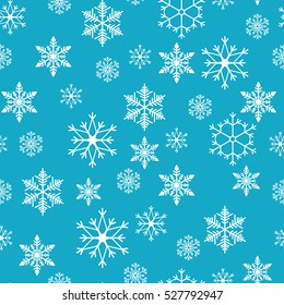 Snowflake simple seamless pattern. Abstract wallpaper, wrapping decoration. Symbol of winter, Merry Christmas holiday, Happy New Year celebration Vector illustration.