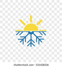 snowflake with sun and termometer