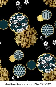 snowflake symbol circle ornamental oriental japanese chinese vector design seamless pattern gold black gold
