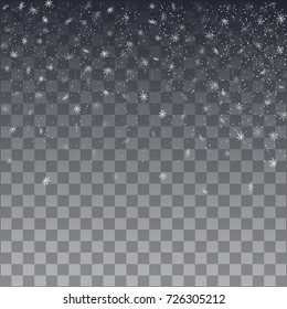 Snowflake vector. Falling Christmas snow fall isolated. Snowflakes decoration effect. Transparent snow flake pattern. Vector illustration on transparent background