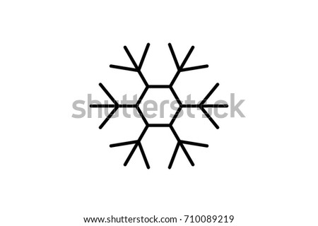 Snowflake Vector Flat Pictograph Line Icon Stock Vector (Royalty