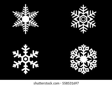 Snowflake vector icon background set white color. Winter blue christmas snow flake crystal element. Weather illustration ice collection. Xmas frost flat isolated silhouette symbol