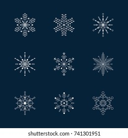Snowflake vector icon background set.