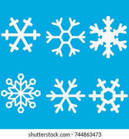 Snowflake vector icon background set white color. Winter blue christmas snow flat crystal element. Weather illustration ice collection. Xmas frost snow flake isolated.