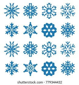 Snowflake vector icon background set white color. Winter white christmas snow flake crystal element. Weather illustration ice collection. Xmas frost flat isolated silhouette symbol
